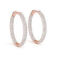 1.00ct T.W Round Diamond Hoop Earrings in 14K Rose Gold