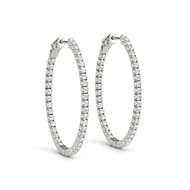 (.78CT t.w) Round Diamond Hoop Earrings in 14k White Gold