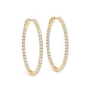(.78CT t.w) Round Diamond Hoop Earrings in 14k Yellow Gold