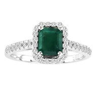 Emerald-Cut Emerald and Diamond Halo Ring in 14K White Gold (1.25ctw)