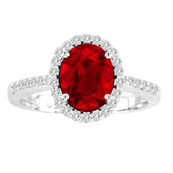 Oval Ruby and Diamond Halo Ring in 14k White Gold(1.76ctw)