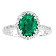 Oval Emerald and Diamond Halo Ring in 14k White Gold(1.51ctw)