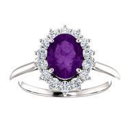 14k White Gold Oval Amethyst and Diamond Ring(2.00ctw)