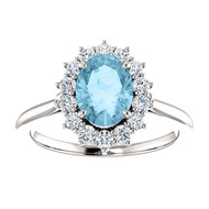 14k White Gold Oval Aquamarine and Diamond Ring(2.00ctw)