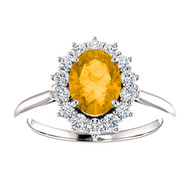 14k White Gold Oval Citrine and Diamond Ring(2.00ctw)