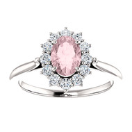 14k White Gold Oval Morganite and Diamond Ring(2.00ctw)