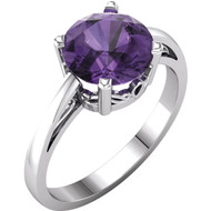 14k White Gold Round Amethyst Ring (1.50ct)