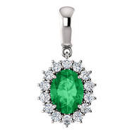 "14k White Gold Oval Emerald and Diamond Pendant w 16"" Chain(1.85ctw)"