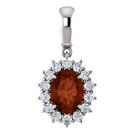 "14k White Gold Oval Mozambique Garnet and Diamond Pendant w 16"" Chain(1.85ctw)"