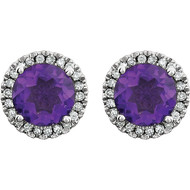 14k White Gold Round Amethyst and Diamond Halo Earring(2.63ctw)