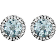 14k White Gold Round Aquamarine and Diamond Halo Earring(2.63ctw)