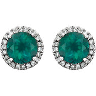 14k White Gold Round Emerald and Diamond Halo Earring(2.63ctw)