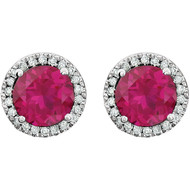 14k White Gold Round Ruby and Diamond Halo Earring(2.63ctw)