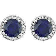 14k White Gold Round Sapphire and Diamond Halo Earring(1 1/2ctw)