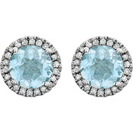 14k White Gold Round Sky Blue Topaz and Diamond Halo Earring(2.63ctw)