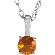 14k White Gold Round Citrine Gemstone Pendant(.20ct)