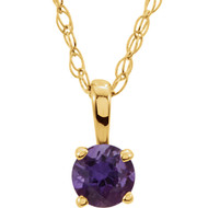 14k Yellow Gold Round Amethyst Gemstone Pendant(.20ct)