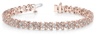 Fancy-Flower Fashion Diamond Bracelet in 14k Rose Gold (3.15ctw)