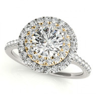 14k Two-Tone White with Yellow Gold Halo Diamond Engagement Semi-Mount Ring(.39ctw)