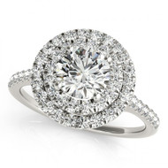 14k White Gold Halo Diamond Engagement Semi-Mount Ring(.39ctw)