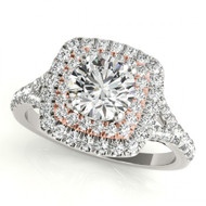 14K Two-Tone White with Rose Gold Square Halo Diamond Engagement Semi-Mount Ring(.52ctw)