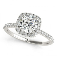 Round Halo 1CT Diamond Engagement Semi-Mount Ring(.35ctw)