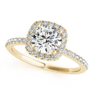 Round Halo 1CT Diamond Engagement Semi-Mount Ring in 14k Yellow Gold(.35ctw)