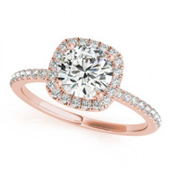 Round Halo 1CT Diamond Engagement Semi-Mount Ring in 14k Rose Gold(.35ctw)