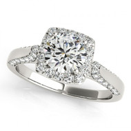 1.00CT Round Diamond Halo Fancy Engagement Semi-Mount ring in 14k White Gold(.43ctw)