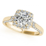1.00CT Round Diamond Halo Fancy Engagement Semi-Mount ring in 14k Yellow Gold(.43ctw)