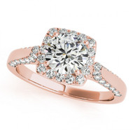 1.00CT Round Diamond Halo Fancy Engagement Semi-Mount ring in 14k Rose Gold(.43ctw)
