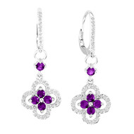 14k White Gold Round Amethyst and Diamond Flower Earrings (1.41ct t.w)