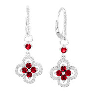 14k White Gold Round Ruby and Diamond Flower Earrings (1.71ct t.w)