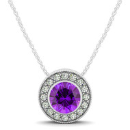 14k White Gold  Round Amethyst and Diamond Circle Pendant(.54ct t.w)