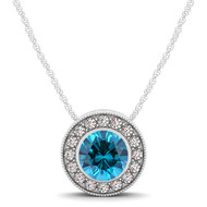 14k White Gold  Round Blue Topaz and Diamond Circle Pendant(.70ct t.w)