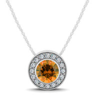 14k White Gold  Round Citrine and Diamond Circle Pendant(.54ct t.w)