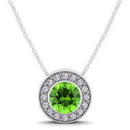 14k White Gold  Round Peridot and Diamond Circle Pendant(.64ct t.w)