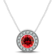 14k White Gold  Round Ruby and Diamond Circle Pendant(.79ct t.w)