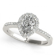 14k White Gold 8x6 Pear Shape Diamond Engagement Semi-Mount Ring (.22ct t.w)