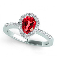 14k White Gold 7x5 Pear Shape Ruby and Diamond Engagement Ring (.95ct t.w)