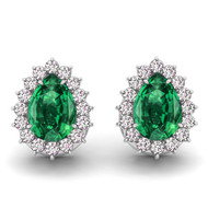 14k White Gold 6X4mm Pear Shape Emerald and Diamond Earrings (1.18ctw)