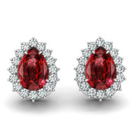 14k White Gold 6X4mm Pear Shape Ruby and Diamond Earrings (1.28ctw)
