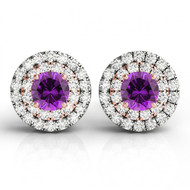 14k Two-Tone Round Amethyst and Diamond Halo Earrings(1.85ctw)