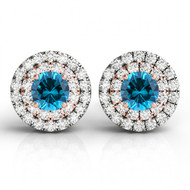 14k Two-Tone Round Blue Topaz and Diamond Halo Earrings(2.45ctw)
