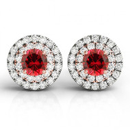 14k Two-Tone Round Ruby and Diamond Halo Earrings(2.55ctw)