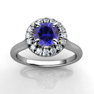14k White Gold Round Sapphire and Diamond Halo Engagement Ring (1.04ctw)