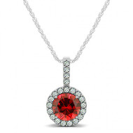 Round Ruby and Diamond Halo Pendant set in 14k White Gold