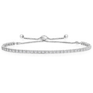 """One-Size-Fits-All"" Round 'Box' Diamond Tennis Bracelet in 14k White Gold (.88ctw)"