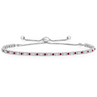 """One-Size-Fits-All"" Round 'Box' Ruby and Diamond Tennis Bracelet in 14k White Gold (.88ctw)"