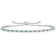 """One-Size-Fits-All"" Round 'Box' Emerald and Diamond Tennis Bracelet in 14k White Gold (.88ctw)"